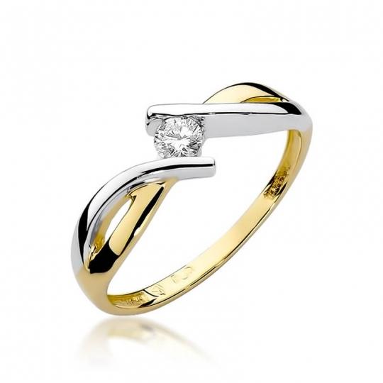 Złoty pierścionek z diamentem EY-191B 0,10ct