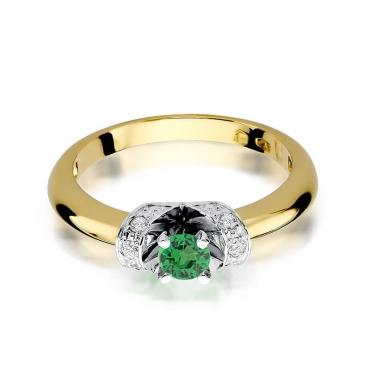Złoty pierścionek z diamentem EY-43 szmaragd
