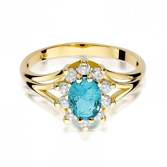 Złoty pierścionek z diamentem EY-37 topaz