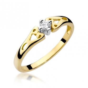 Złoty pierścionek z diamentem EY-13 0,10ct
