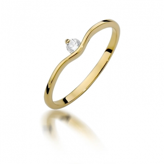 Złoty pierścionek z diamentem EY-385 0,09ct