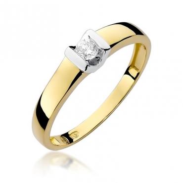Złoty pierścionek z diamentem EY-249 0,10ct