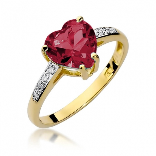 Złoty pierścionek z diamentem EY-31 rubin