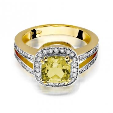 Złoty pierścionek z diamentem EY-307 cytryn