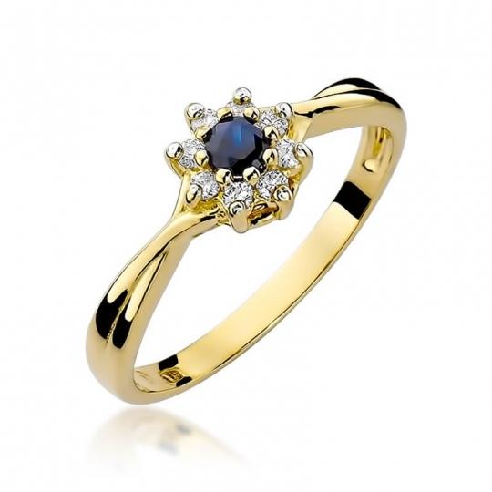Złoty pierścionek z diamentem EY-72 szafir