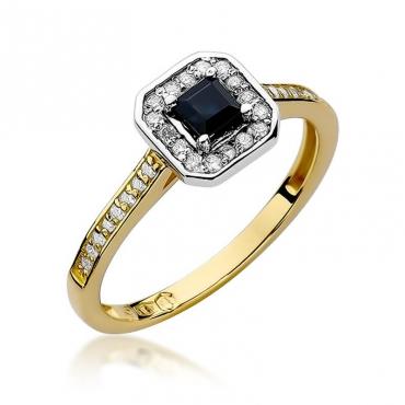 Złoty pierścionek z diamentem EY-315 szafir
