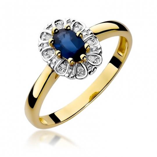 Złoty pierścionek z diamentem EY-304 szafir