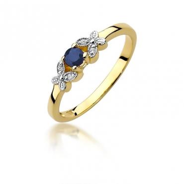Złoty pierścionek z diamentem EY-414 Szafir