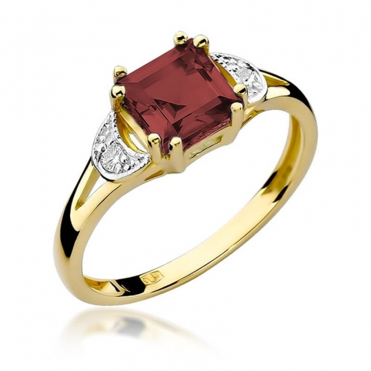 Złoty pierścionek z diamentem EY-40B granat