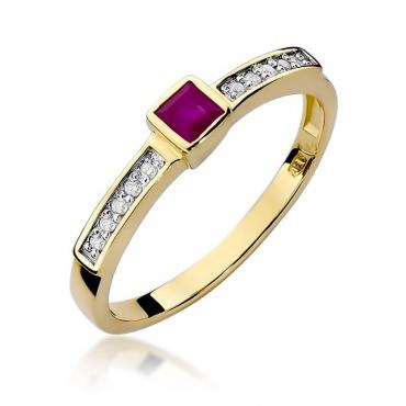 Złoty pierścionek z diamentem EY-327 rubin
