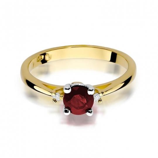 Złoty pierścionek z diamentem EY-17 rubin