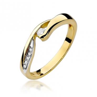 Złoty pierścionek z diamentem EY-82 0,08ct