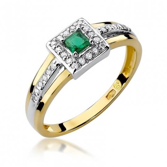Złoty pierścionek z diamentem EY-271 szmaragd