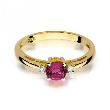 Złoty pierścionek z diamentem EY-10 rubin