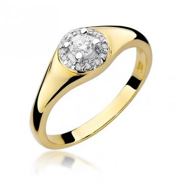 Złoty pierścionek z diamentem EY-41 0,17ct