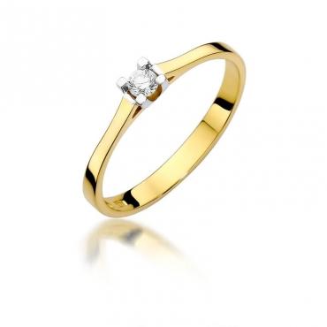 Złoty pierścionek z diamentem EY-407 0,09ct