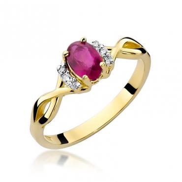 Złoty pierścionek z diamentem EY-19 rubin