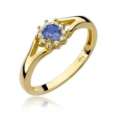 Złoty pierścionek z diamentem EY-185 tanzanit