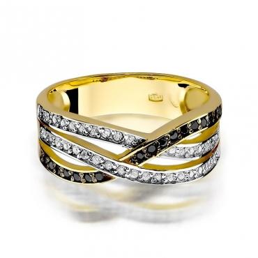 Złoty pierścionek z diamentem EY-215 czarne brylanty