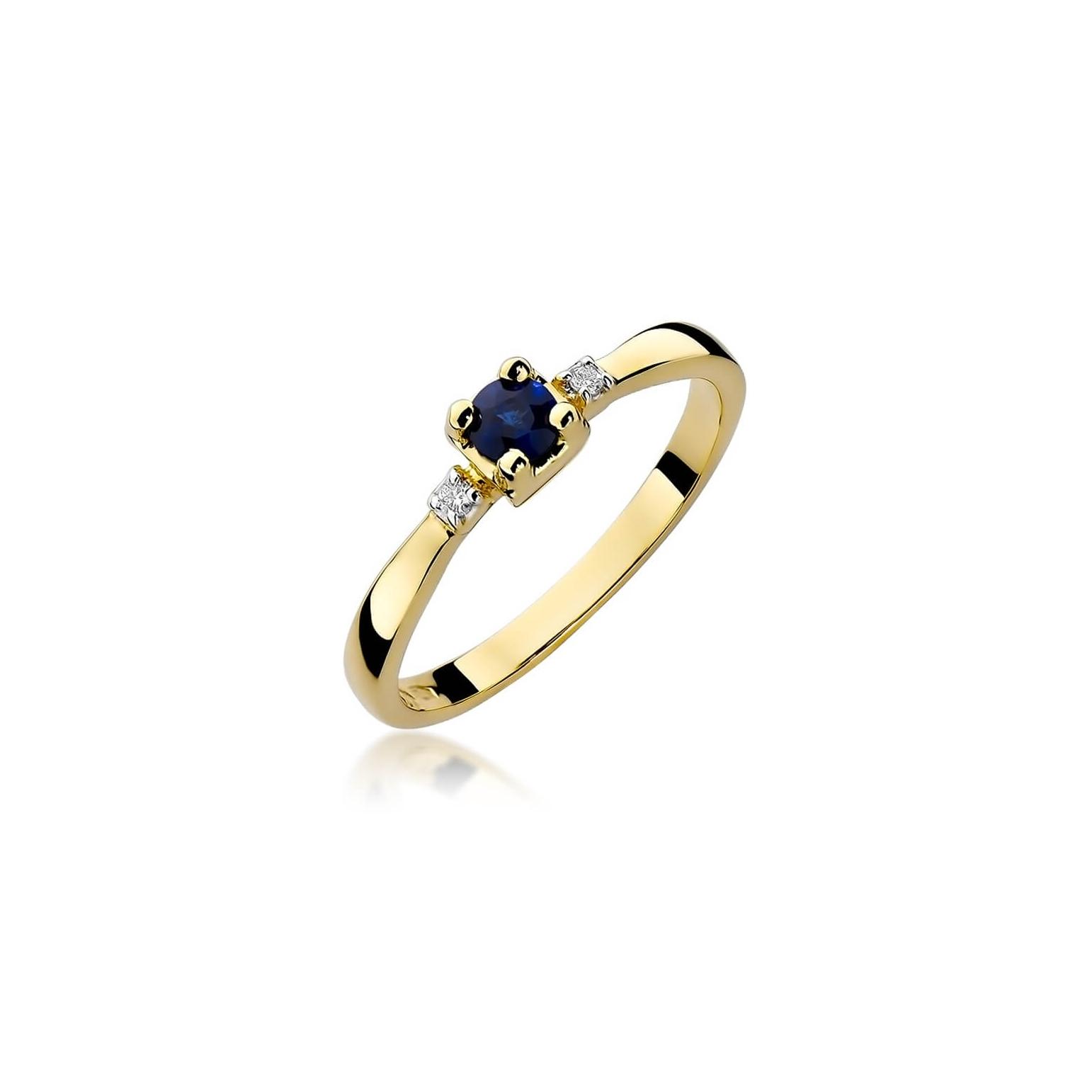 Złoty pierścionek z diamentem EY-323 szafir