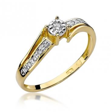 Złoty pierścionek z diamentem EY-269 0,10ct