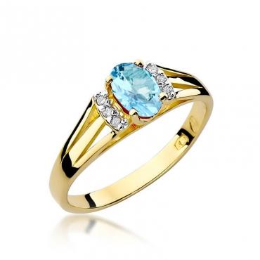 Złoty pierścionek z diamentem EY-5 topaz