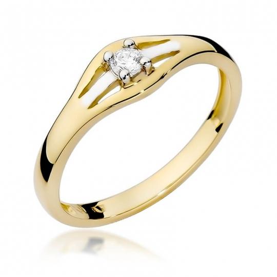 Złoty pierścionek z diamentem EY-254 0,10ct