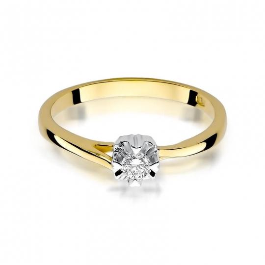 Złoty pierścionek z diamentem EY-318 0,10ct