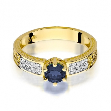 Złoty pierścionek z diamentem EY-75 szafir
