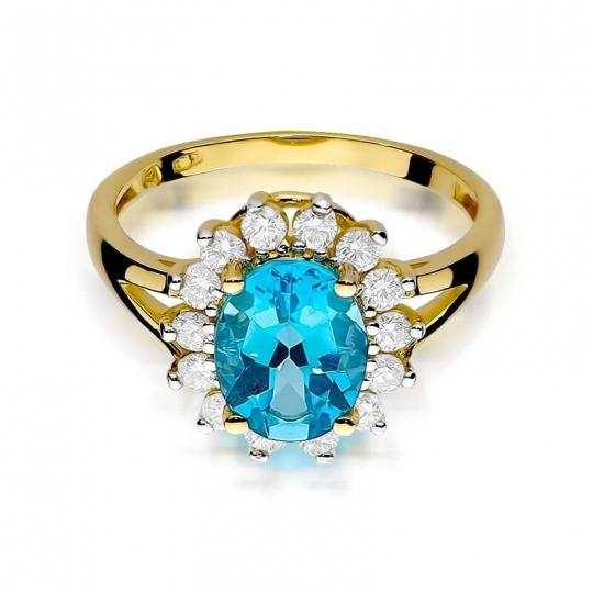 Złoty pierścionek z diamentem EY-48 topaz