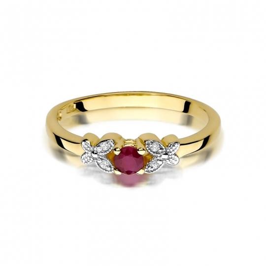 Złoty pierścionek z diamentem EY-414 rubin