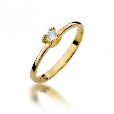 Złoty pierścionek z diamentem EY-386 0,09ct