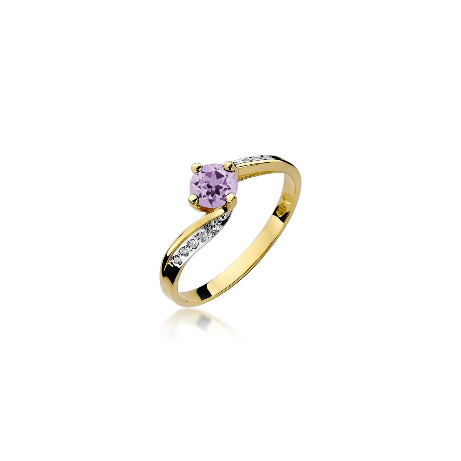 Złoty pierścionek z diamentem EY-84 ametyst