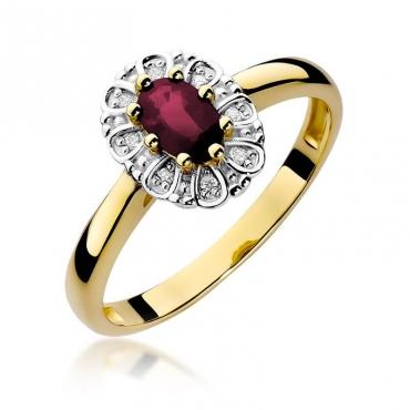 Złoty pierścionek z diamentem EY-304 rubin