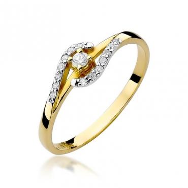 Złoty pierścionek z diamentem EY-237 0,11ct