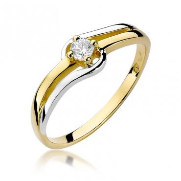 Złoty pierścionek z diamentem EY-255 0,10ct