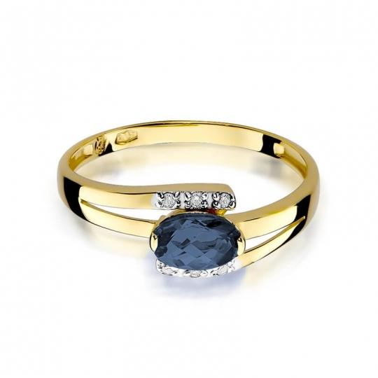 Złoty pierścionek z diamentem EY-119 szafir
