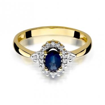Złoty pierścionek z diamentem EY-312 szafir