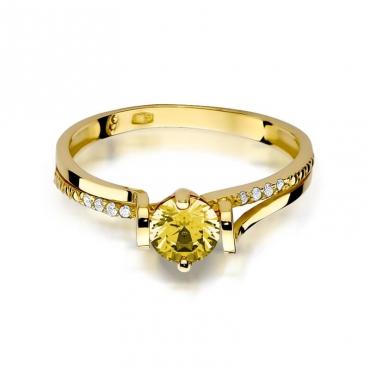 Złoty pierścionek z diamentem EY-102 cytryn