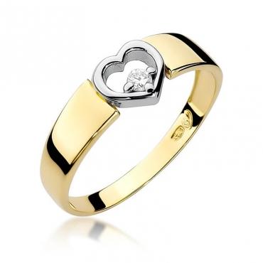 Złoty pierścionek z diamentem EY-276 0,04ct