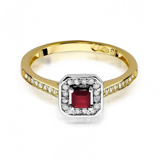 Złoty pierścionek z diamentem EY-315 rubin