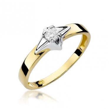 Złoty pierścionek z diamentem EY-30 0,10ct