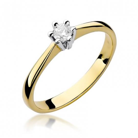 Złoty pierścionek z diamentem EY-256 0,15ct