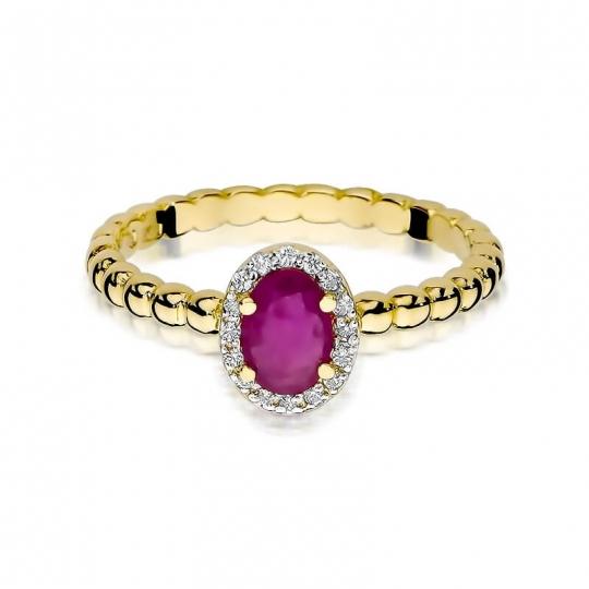 Złoty pierścionek z diamentem EY-359 rubin