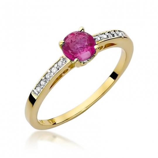 Złoty pierścionek z diamentem EY-66 rubin