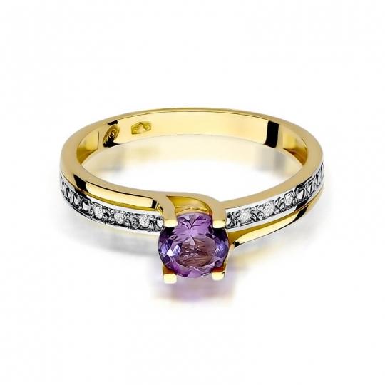 Złoty pierścionek z diamentem EY-106 ametyst
