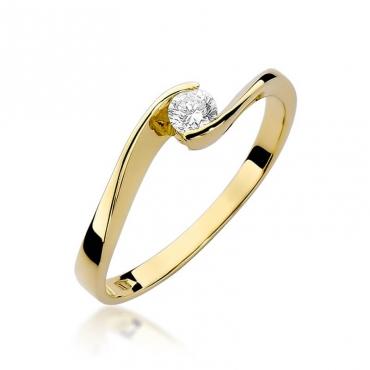 Złoty pierścionek z diamentem EY-160 0,13ct