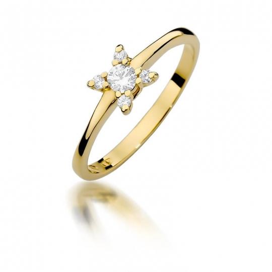 Złoty pierścionek z diamentem EY-376 0,19ct