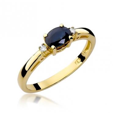 Złoty pierścionek z diamentem EY-6 szafir