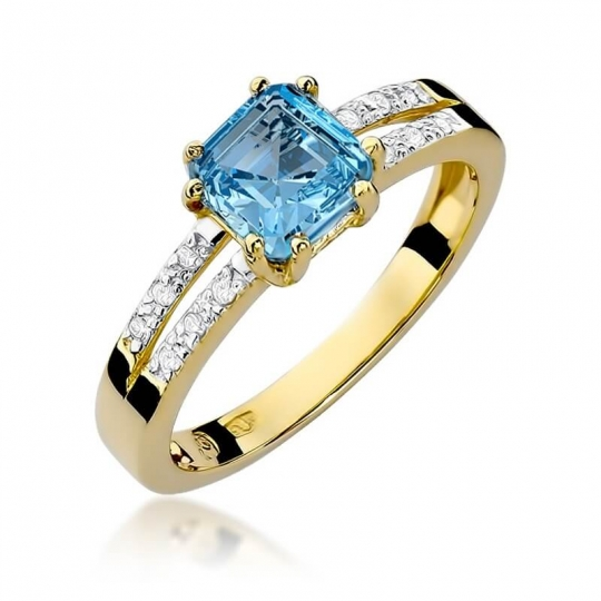Złoty pierścionek z diamentem EY-79 topaz
